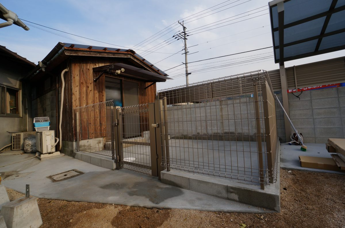 岡山市 ドッグラン メッシュフェンス 土間コンクリート